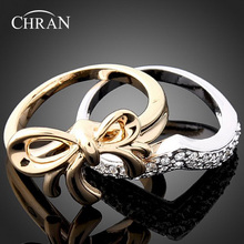 Chran Elegant Butterfly Design Fashion Women 2 Paves Band Couple Ring Gold Color Crystal Engagement Rings Set