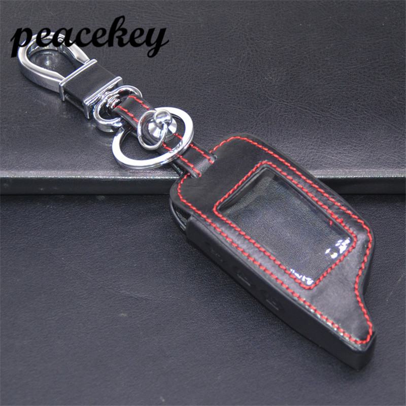 Peacekey Leather Remote Car Keychain Key Cover key case for Russia version two way car alarm system Pandora DXL3000 Lcd keyring universal one way car alarm security system with four buttons remote transmitters suitable for all kinds of cars fast shipping