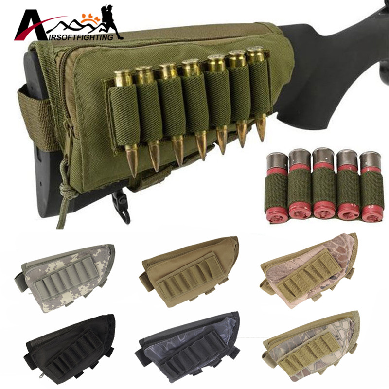 Tactical Buttstock Cheek Rest Ammo Pouch Shotgun Rifle Stock Ammo Portable Pouch Shell Cartridge Holder Combat Hunting Gear 45acp laser ammo