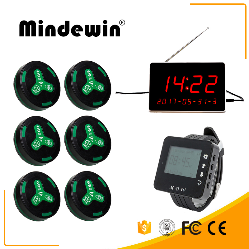 Mindewin Hot Sale Restaurant Or Cafe Shop Waiter Calling System 1PC Watch Receiver,1PC LED Display And 10PCS Waiter Call Button wireless table call system monitor bell buzzer used in the cafe bar restaurant 433 92mhz 2 display 1 watch 18 call button