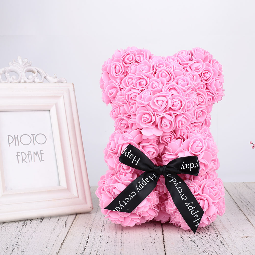 Медведь куклы Роза Медведь День Святого Валентина девушка пена романтическая искусственная роза милая игрушка - Цвет: pink