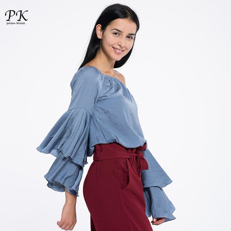 PK Blouse Femme 2018 printemps été femmes Blouse chemise solide blanc bleu hors épaule Top Femme à volants à manches longues Femme hauts