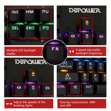 DBPOWER Russian/English Mechanical Keyboard  104 /87 Keys Blue Switch Rainbow Backlit Gaming for PC Game Backlight Teclado Gamer