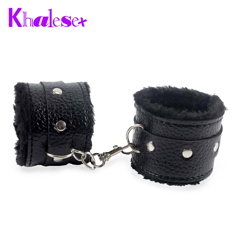 Free Shipping Black Soft PU Leather Handcuffs Restraints Bondage Sex Products Sex Toys Costume Tools