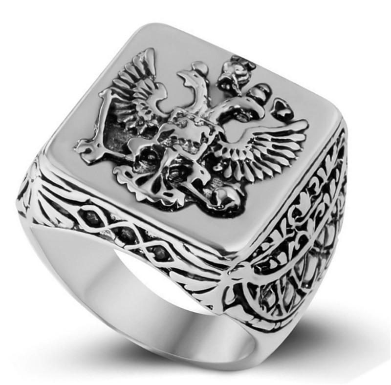 Винтажная Мода Русская империя двуглавый орёл кольца золотистого цвета кольцо для мужчин мужские ювелирные изделия 7-14 большой размер Новое поступление