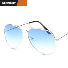 Piloto moda gafas de sol hombres Vintage diseño de marca gafas de sol marco de plata gradiente azul océano transparente lentes envío gratis