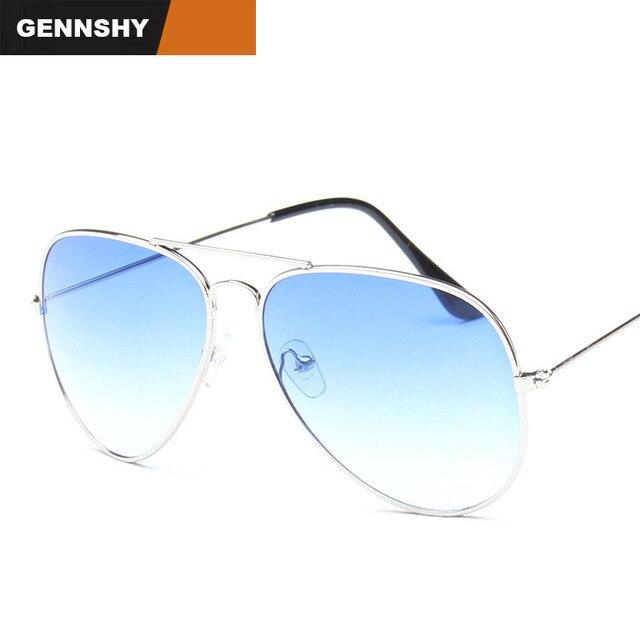 9fb60a348b Fashion Pilot Sunglasses Men Vintage Brand Design Sunglasses Silver Frame  Gradient Blue Transparent Ocean Lenses Free Shipping