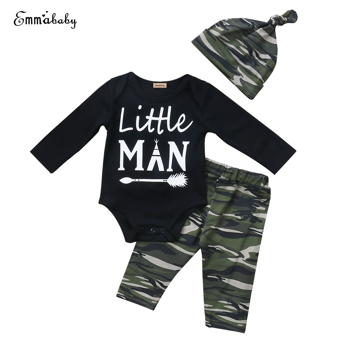 3PCS Camo Newborn Baby Boys Cotton Tops Romper Pants Hat Outfits Set Clothes US.