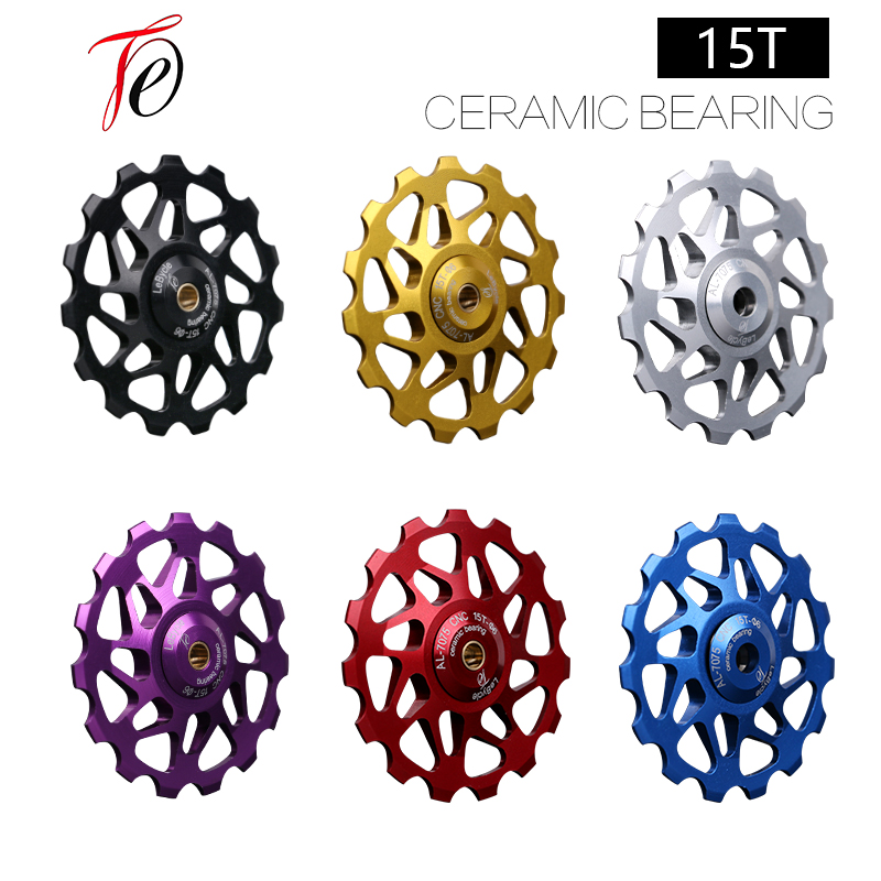 15T Bike Rear Derailleur Pulley MTB roller Idler Road bicycle Ceramic bearing 7005 Aluminum Alloy Wheel cycling Parts accessor