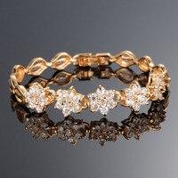 Women Link Chain Bracelets Romantic Flower Design Gold Color 3