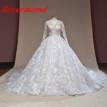 2019 nuevo vestido de novia de encaje vestido de novia cola real de cuello alto vestido de boda personalizado hecho vestido de novia directamente de fábrica vestido de novia