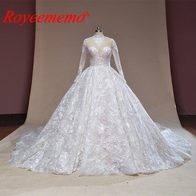 2019 nuovo treno ad alta collo del merletto dellabito di sfera vestito da cerimonia nuziale Reale abito da sposa custom made abito da sposa di fabbrica direttamente da sposa abito