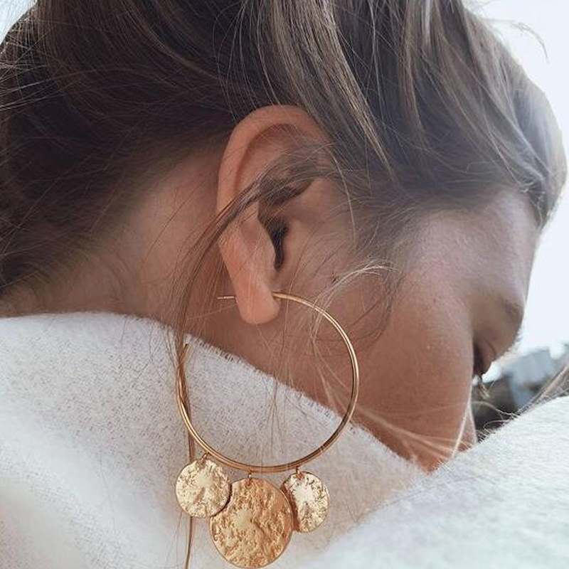 Tocona New Arrival Punk Big Round Shape Design Geometric Pendant Earrings For Women Female Gold Color Jewelry Accessories 3537 1