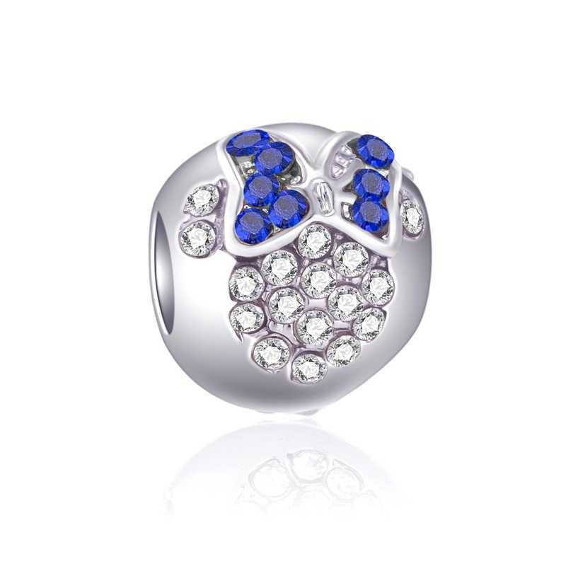 สไตล์สดสีขาวผีเสื้อนกฮูก Evil Eye คริสตัลลูกปัด Charms Fit สร้อยข้อมือ Pandora และกำไลข้อมือผู้หญิง DIY perles