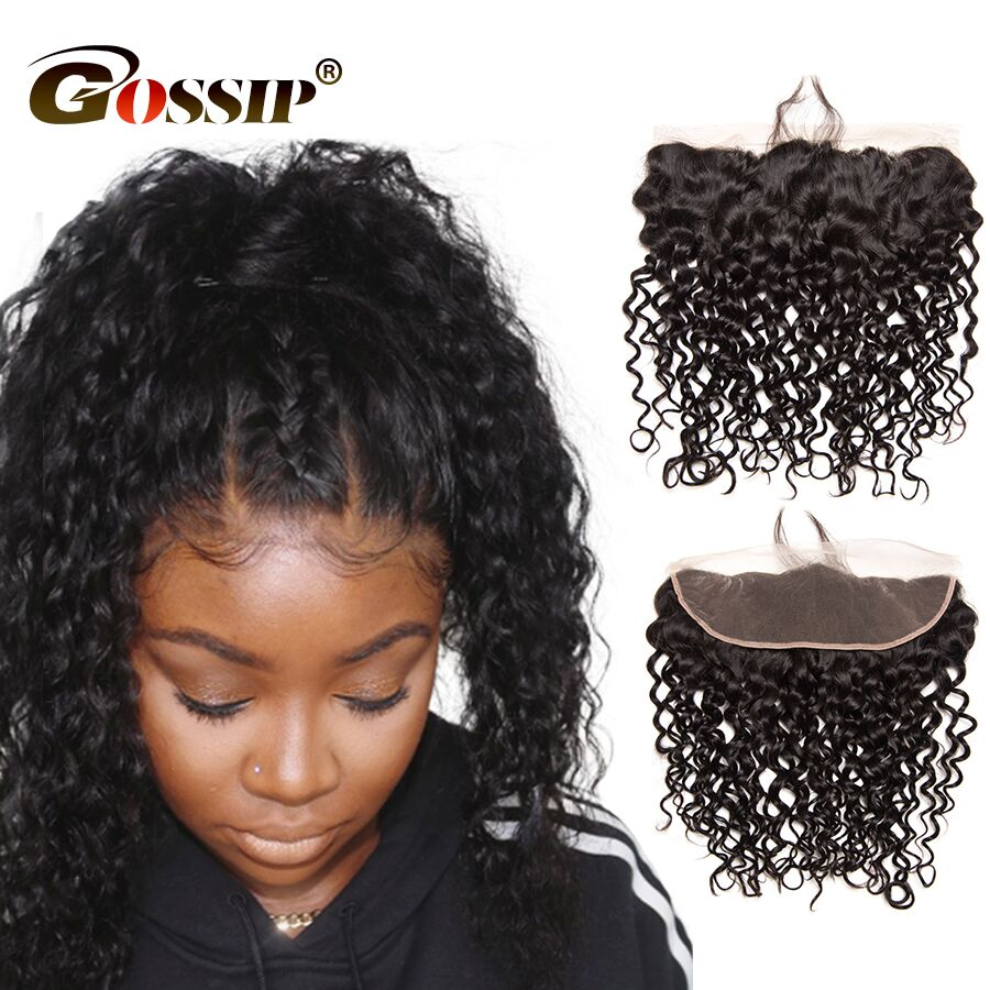 Gossip Hair Water Wave Pre Plucked Frontal 100 Human Hair Closure Brazilian Water Wave 13 4
