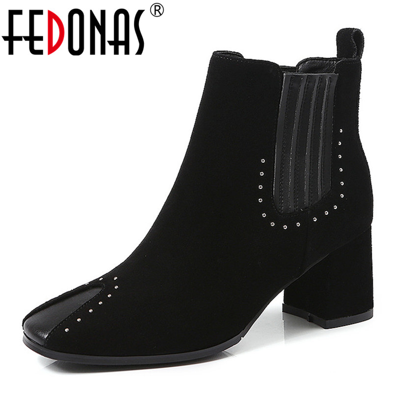 FEDONAS 2019 Women Ankle Boots High Heels Fashion Rivets Autumn Winter Chunky Heel Ladies Short Boots Female Martin Boots whitesun plus size boots women martin boots autumn winter shoes female ankle boots buckle retro style chunky heel short boots