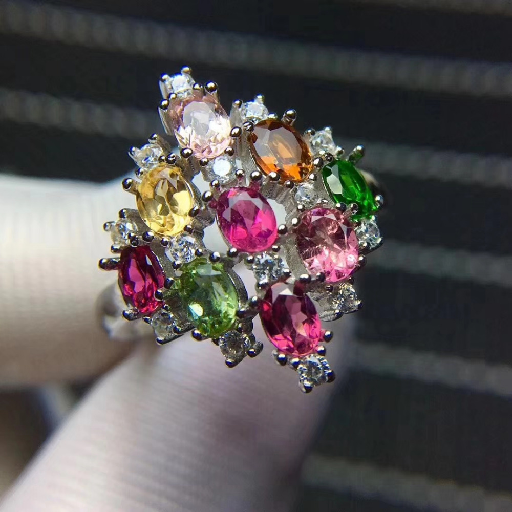 Fashion big Talonpaw rhombus Natural Multicolor tourmaline Ring Natural gemstone ring S925 silver women party girl fine JewelryFashion big Talonpaw rhombus Natural Multicolor tourmaline Ring Natural gemstone ring S925 silver women party girl fine Jewelry
