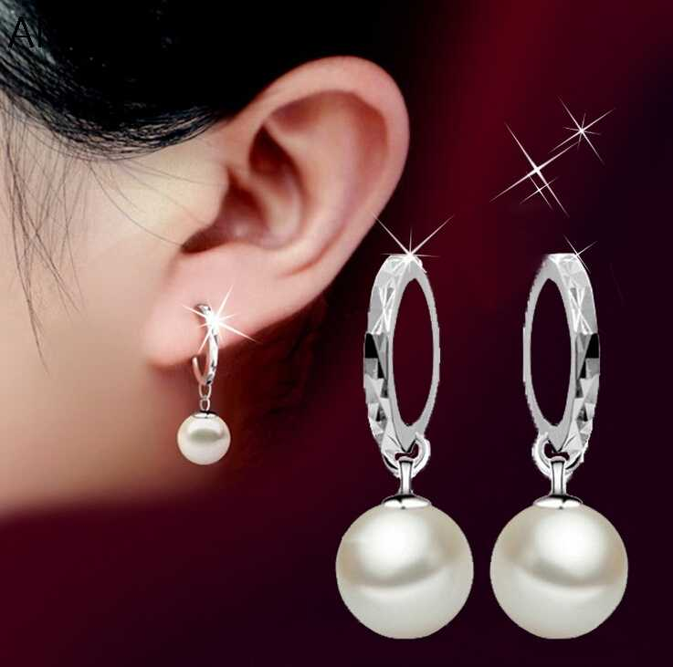 Classic Fashion 925-sterling-silver Earrings pendientes Pearl Drop Earrings For Women brincos S-E27