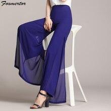 Foxmertor новые женские брюки элегантные широкие брюки с высокой талией плиссированные брюки Femme Повседневные свободные уличные женские шифоновые брюки