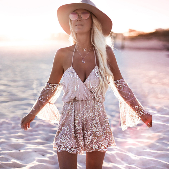 6d59eb1441 Flare Sleeve Sexy Glitter Romper Bohemian Boho Jumpsuit Short Summer Women  Playsuit Shorts 2018 Party Rompers Combinaison Femme