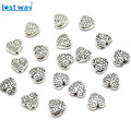 8mm 20pcs/lot Tibetan Silver Heart beads Metal Spacer Beads charm For DIY Jewelry Bracelet