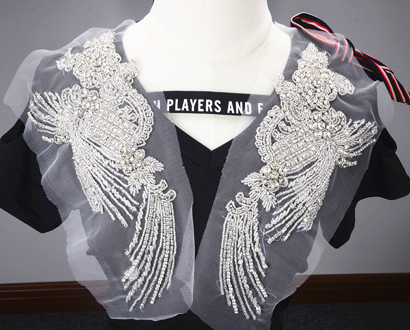 1pair Rhinestone Appliques For Wedding Belt Silver Crystal Beads Sew On Full Dress Rhinestone Mesh Appliques Bridal Accessories