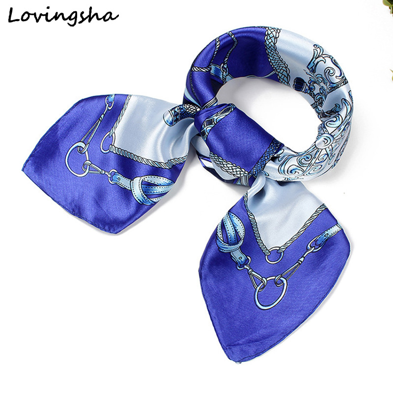 LOVINGSHA Ladies Imitated Silk   Scarf     Wraps   Europe Style Design Satin Big Square   Scarf   Printed Women Silk   Scarf   60*60cm SC004