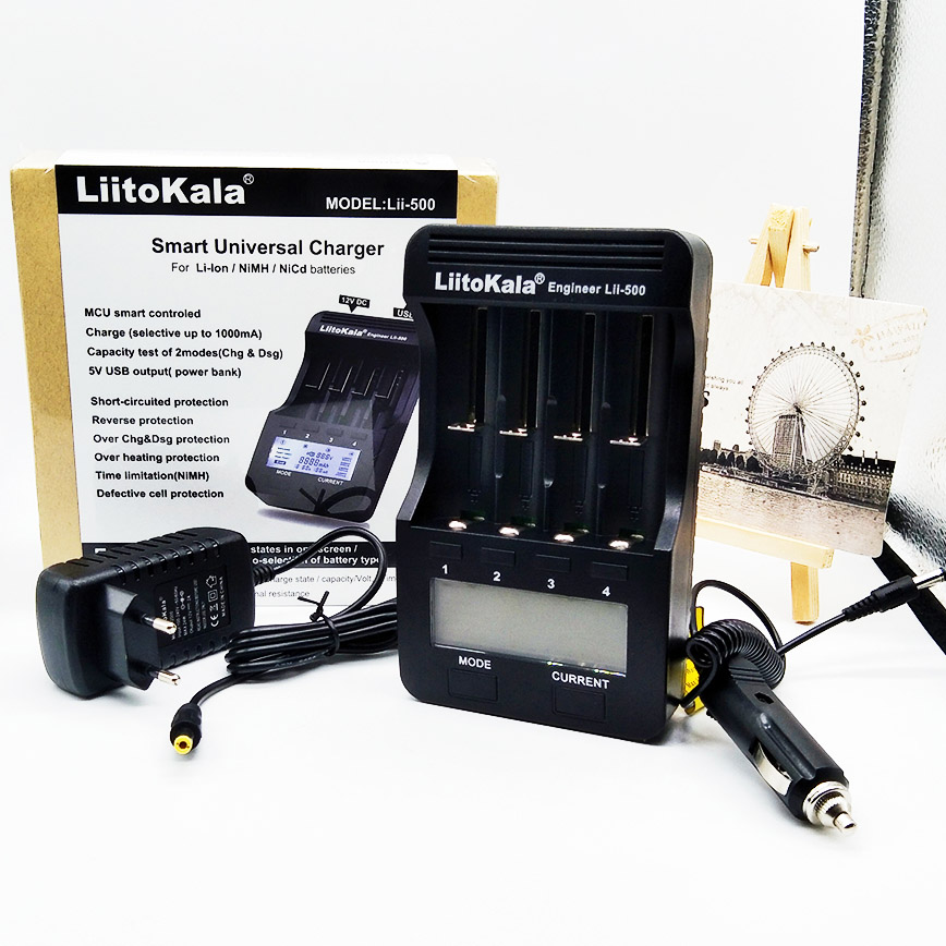 LiitoKala lii-500 LCD 3.7 V/1.2 V 18650/26650/16340/14500/10440/18500 Batteria caricatore, 100% originale LiitoKala fabbrica lii500