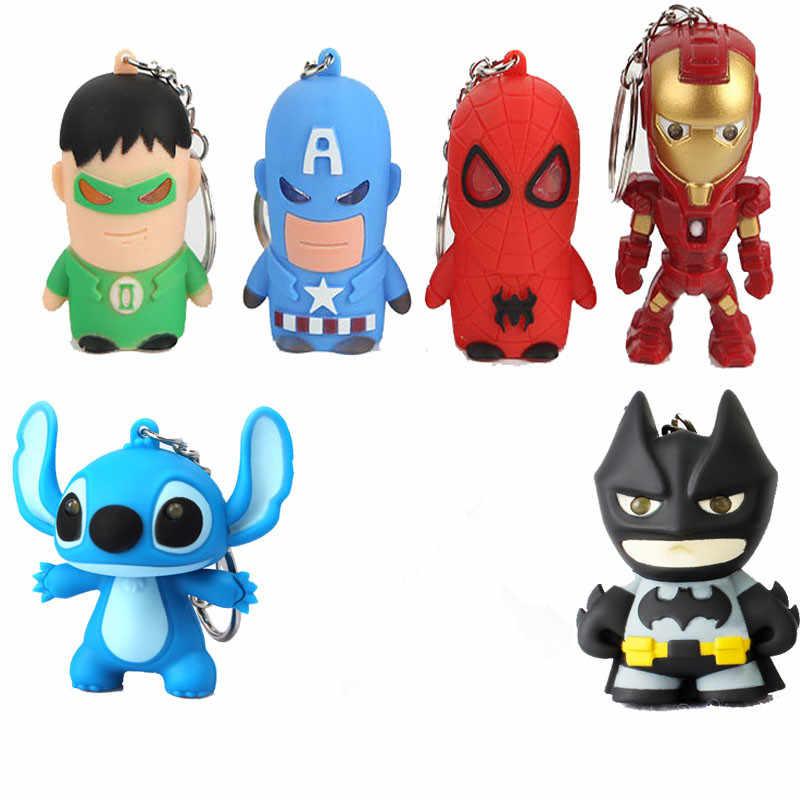 Figuras nuevas de los vengadores, 1 Uds., LED, Batman, Spiderman, Stitch, llavero con luz, sonido, fiesta, regalo para niños