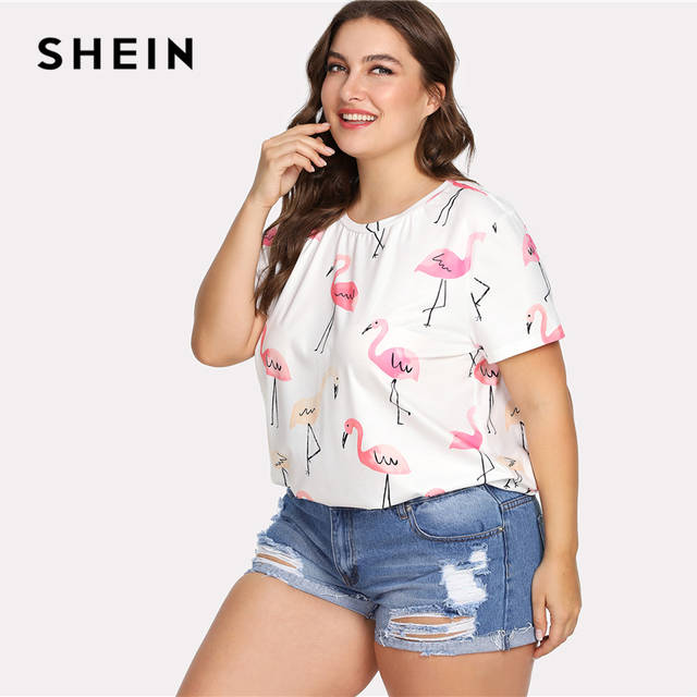 6427971c73 US $20.0 |SHEIN Black Plus Size Allover Flamingo Print Tee Summer Round  Neck Short Sleeve Top Women Plus Size Preppy Animal Print T shirt-in  T-Shirts ...