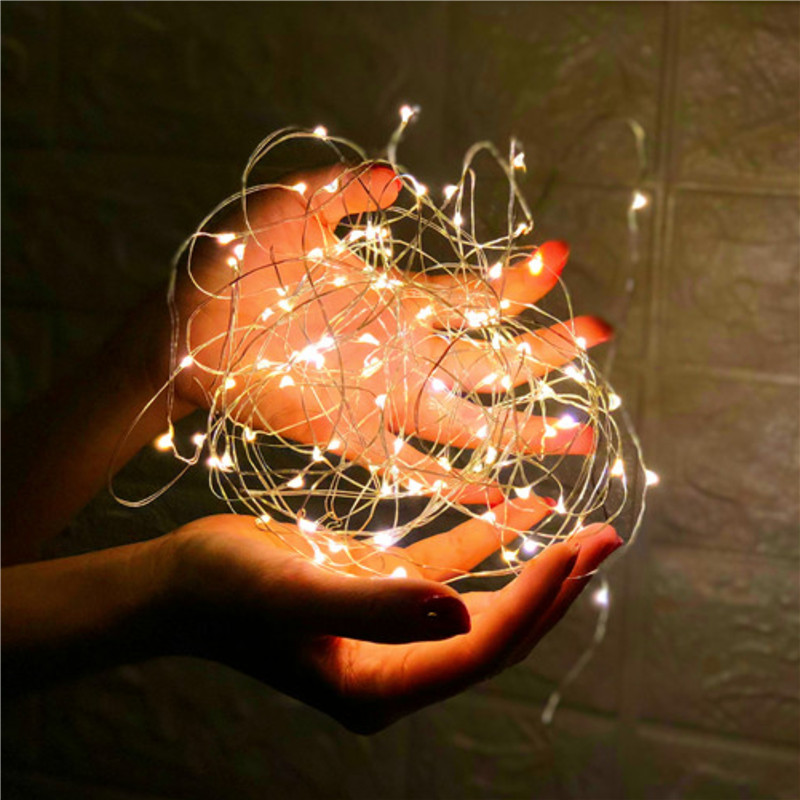 2pcs 2M 3M 5M 10M 100 Led Strings Copper Wire 3XAA Battery Operated Christmas Wedding Party Decoration LED String Fairy Lights