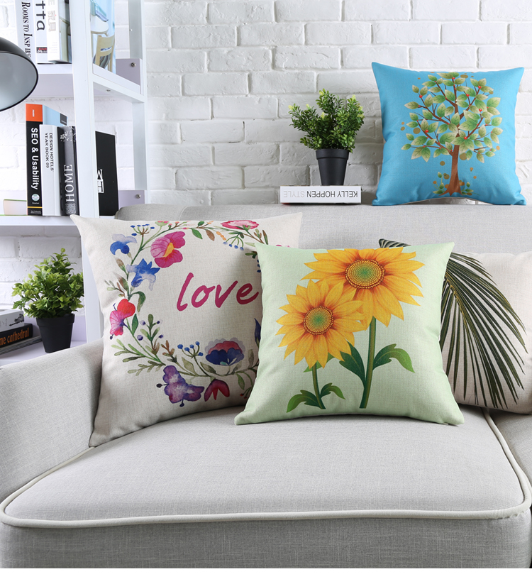 Customized Cushion Covers tree Flower Birds Custom Pillows Cover 9Styles Geometry Baby Sofa Decoration Gift