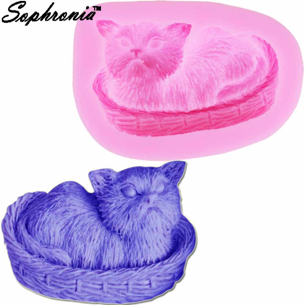 Sweet-Tempered Sophronia 3d Cat In Bamboo Basket Silicone Fondant Molds Resin Clay Soap Party Cake Tools Candy Chocolate Gumpaste Moulds M808 Pure White And Translucent Clay Extruders Home & Garden