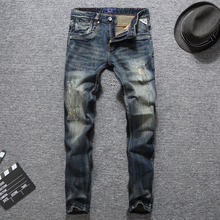 Italian Vintage Designer Men Jeans High Quality Thick Denim Pants Classical 98% Cotton Ripped Jeans Men Streetwear Hip Hop Jeans все цены