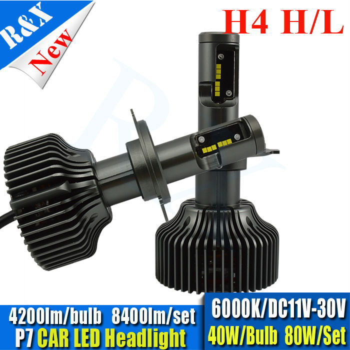 Pair All in one 80W 8400LM Canbus Car H4 LED Headlight P7 CSP Chips Auto Automobile LED H4 Hi Lo Bulbs Head Light Bulb 6000K