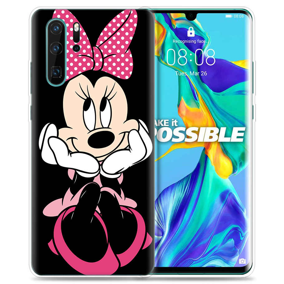 Case for Huawei P30 P20 P10 P9 Mate 10 20 Lite Pro Mobile Cell Phone Bag P Smart Z 2019 Plus Kissing Lovers Mickey Minnie Mouse