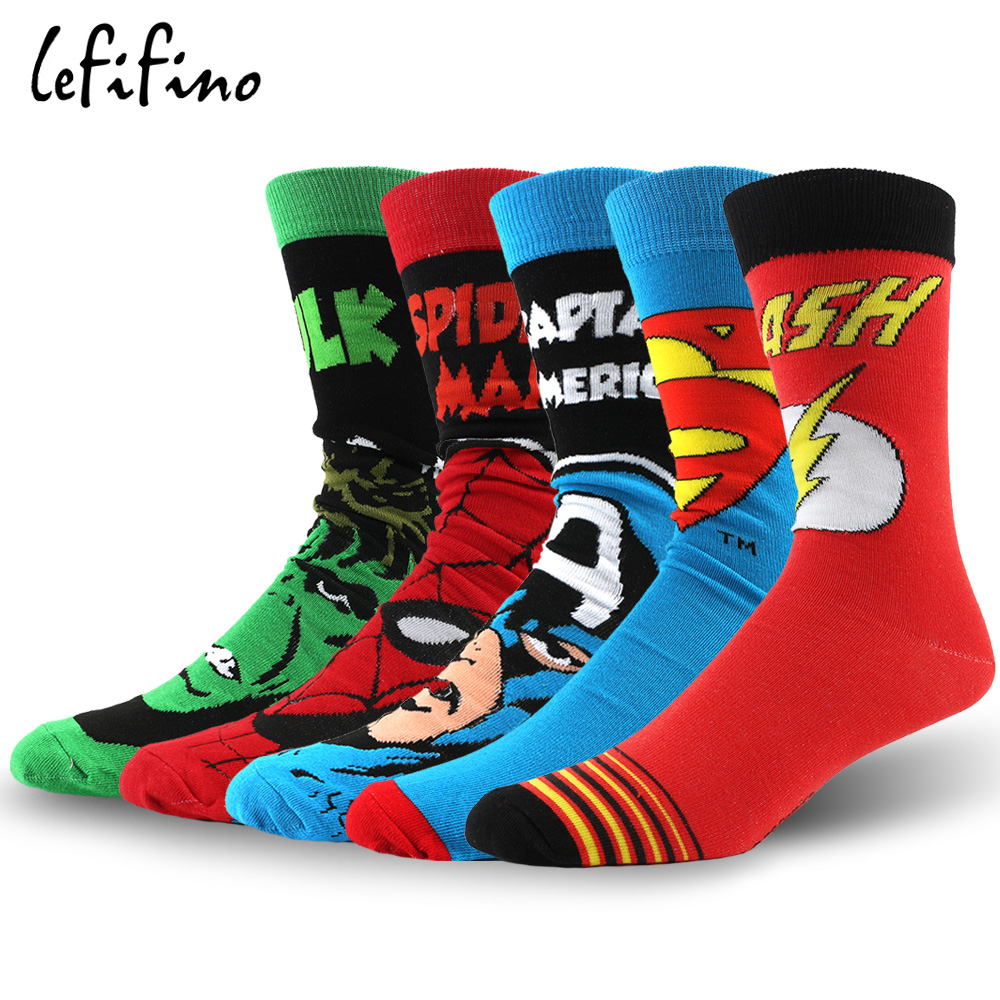 LeFifino Men Anime Cotton Socks Fashion Casual Long Cartoon Skateboard Socks Happy Flash Human Hero Series Jacquard Sock Le03230