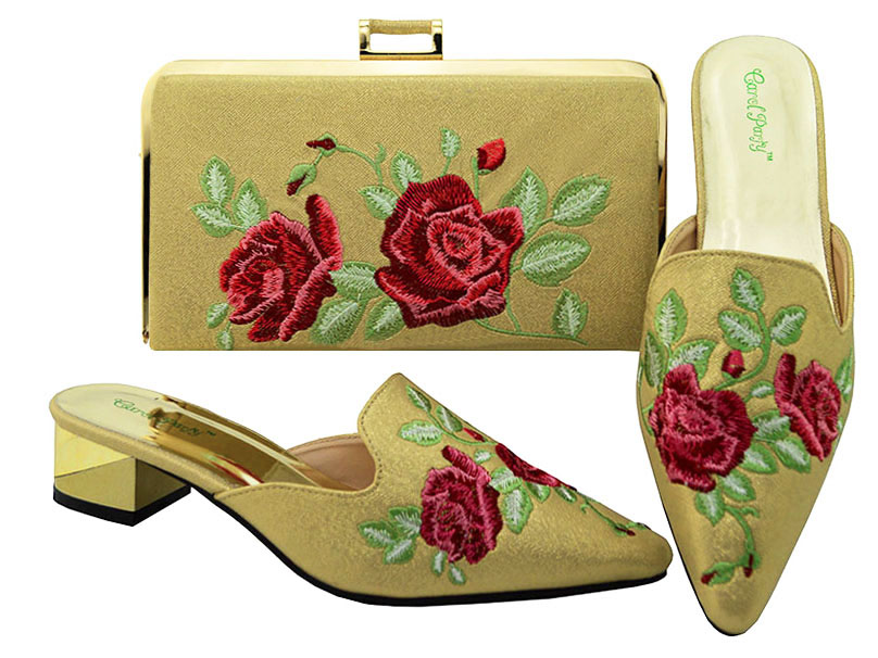 Italian Shoes and Bags Set Free Shipping Gold Nigerian Party Shoes and Sets of African Bag Harmonizing Shoes Med heel  MM6003 italian visual phrase book