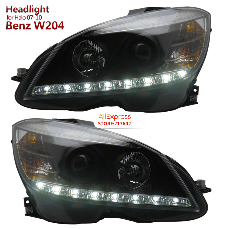 SONAR brand for Mercedes-Benz C-Class W204 C180 C200 C230 C260 C300 LED Headlights DRL light Fit 2007-2010 Halo models w204 c180 c200 c260 c300 carbon fiber car rear trunk lip spoiler wing for mercedes benz w204 c63 4 door 2008 2013 amg style