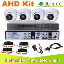 CCTV 4CH Hybrid DVR Video Surveillance System 720P 1080P AHD Camera Kit Day & Night AHD Dome Camera Kit VGA HDMI Output Plastic цена