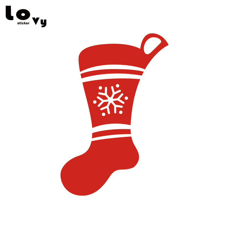 Christmas Stockings Cartoon.Us 9 9 Snowflake Christmas Stocking Vinyl Wall Sticker Cartoon Xmas Stockings Home Decor Wa0586 In Wall Stickers From Home Garden On