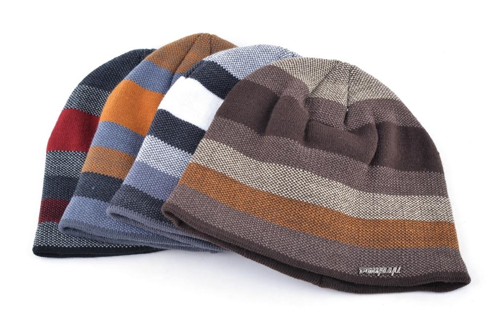 Men's Skullies Hat Bonnet Winter Beanie Knitted Wool Hat Plus Velvet Cap Thicker Stripe Skis Sports Beanies Hats for men 5