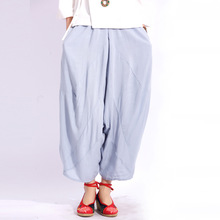 Women Harem Pants solid color chinese National style Elastic waist Loose Trousers Fashion Ankle length Plus size