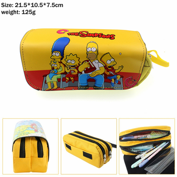 The Simpsons Family Canvas Pencil Case Student pen bag and for Women Makeup Bag Cosmetic bag portable