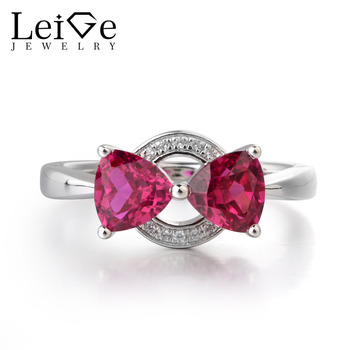 Leige Jewelry Lab Red Ruby Gemstone 925 Sterling Silver July Birthstone Trillion Cut Double Stones Wedding Rings For Woman