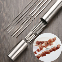 100pcs/tube Stainless Steel BBQ Skewers Round BBQ Stick Flat Barbecue Roasting Needle Forks Outdoor Camping Barbecue Tools