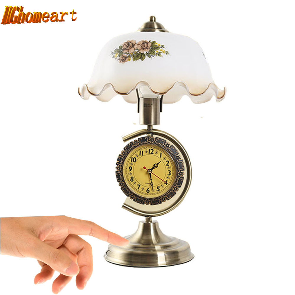 E27 USA Retro Touch Table Lamp Bedroom Bed Adjustable And Clock Decoration Living Room