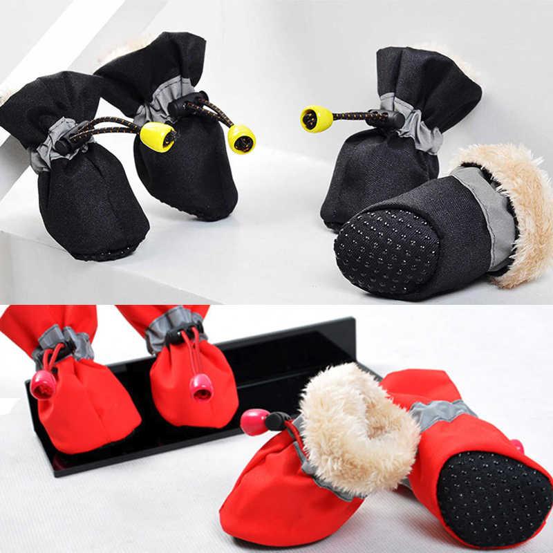4 шт., непромокаемые зимние ботинки для собак, Нескользящие ботинки для дождливой погоды, толстые теплые ботинки для маленьких кошек, собак, щенков, собак, пинетки