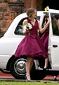 Short Burgundy Bridesmaid Dresses Deep V Neck Chiffon Cheap Bridesmaid Gowns  Winter Puffy Formal Party Gowns