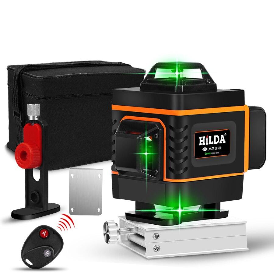 Laser nível 16 linhas linha verde 4d auto-nivelamento 360 horizontal e vertical super poderoso nível laser feixe verde nível laser